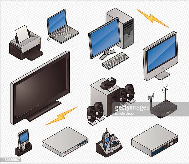isometric home electronics icons - dvd stock illustrations