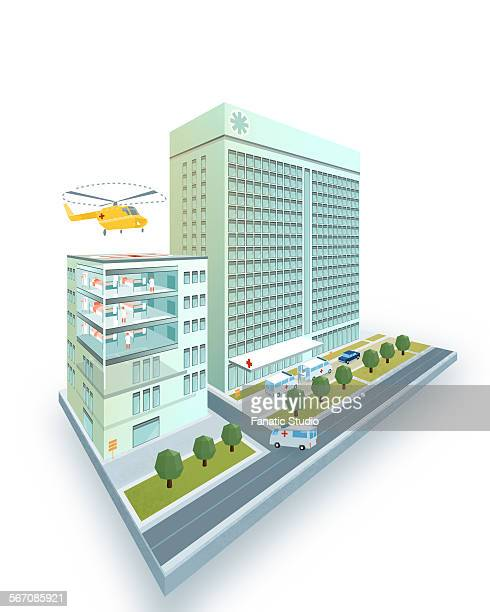 isometric hospital having helipad on roof modern 3d design model isolated on white background - model to scale stock illustrations, clip art, cartoons, & icons