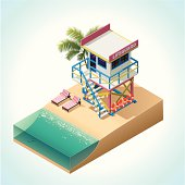 Isometric lifeguard tower