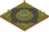 Isometric road toolkit - Roundabout