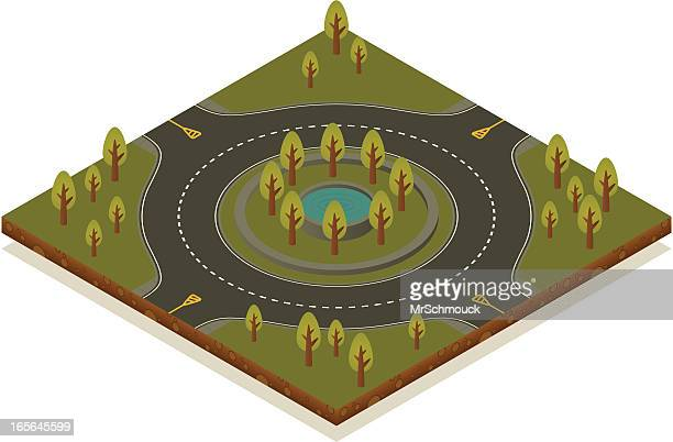 isometric road toolkit - roundabout - road intersection stock illustrations