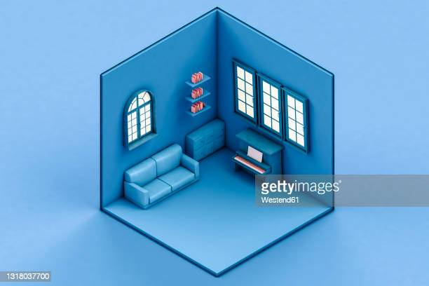 isometric view of blue room with sofa and piano - computer graphic stock illustrations