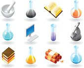 Isometric-style icons for science