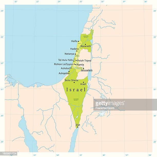 stockillustraties, clipart, cartoons en iconen met israel vector map - palestijnse gebieden