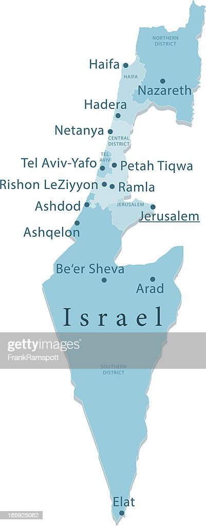 Israel Vektor-Karte Regionen Isoliert : Stock-Illustration
