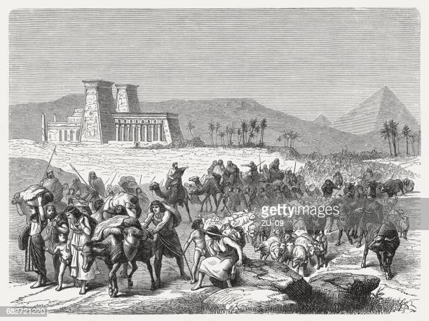 Israel's Exodus from Egypt, wood engraving, published in 1880