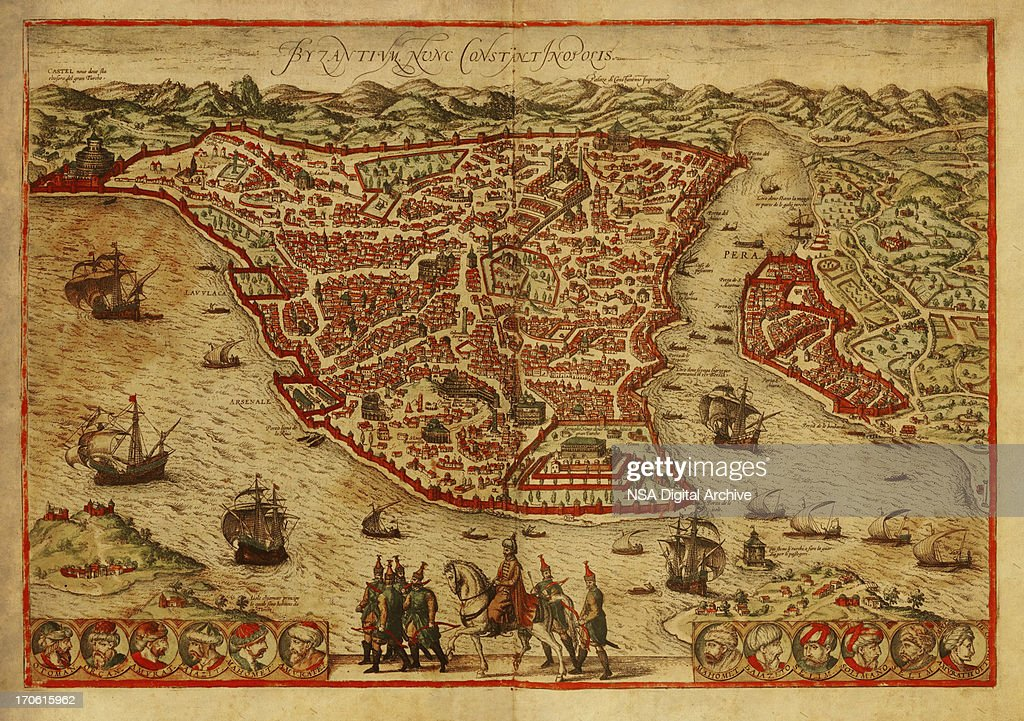 Istanbul Old Map : stock illustration