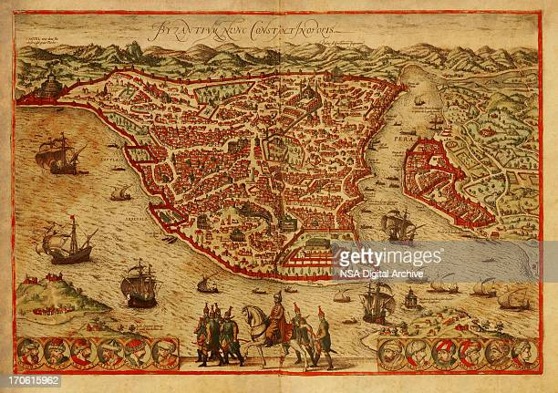 istanbul old map - ottoman empire stock illustrations