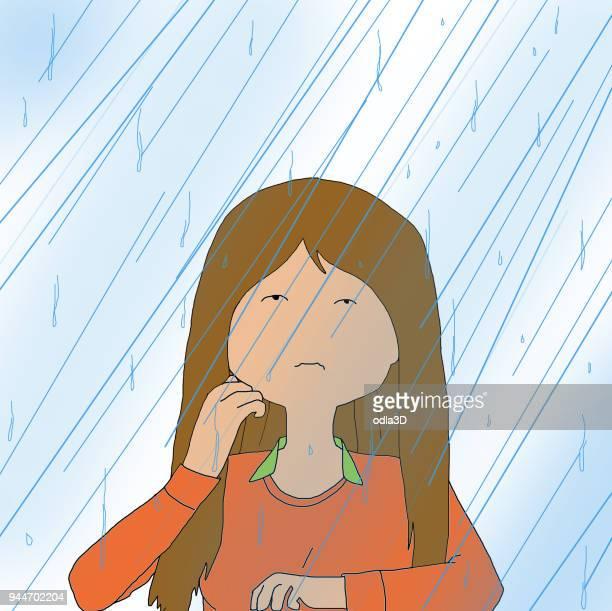 雨が降ると窓悲しい若い女性の後ろに