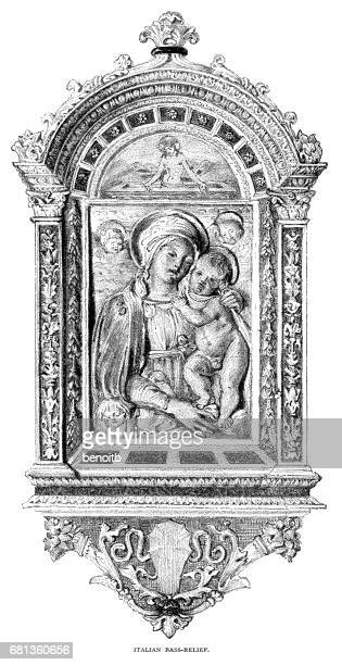 italian bas relief - bas relief stock illustrations