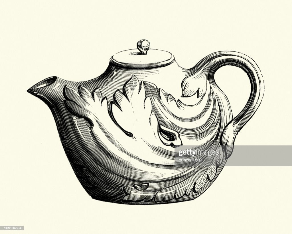 Italian earthenware teapot, 18th Century : Stock Illustration