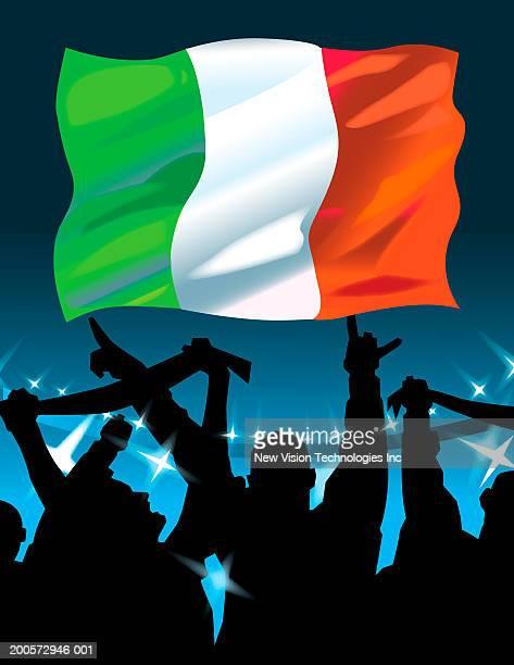 Italian flag above cheering crowd