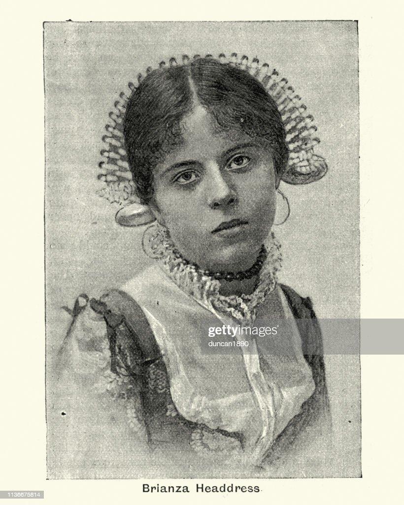 Italian girl wearing traditional headdress of Brianza, Italy : stock illustration