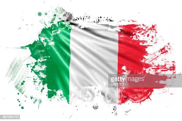 italian ink grunge flag - italian flag stock illustrations