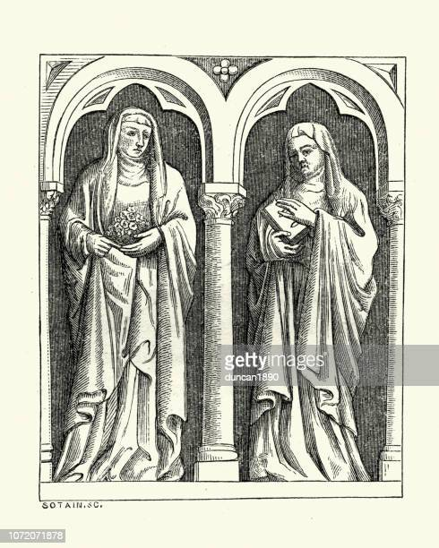 italian medieval sculpture, bas-reliefs nuns, 16th century - religious dress stock illustrations, clip art, cartoons, & icons