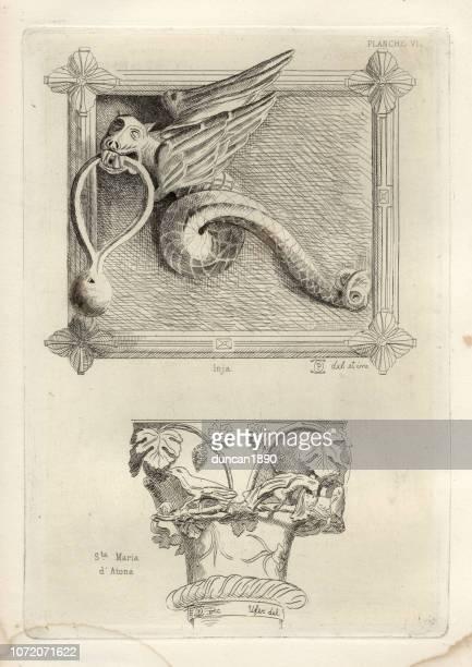 illustrations, cliparts, dessins animés et icônes de sculpture médiévale italienne, heurtoir de porte dragon, capitale de la colonne - marteaudeporte