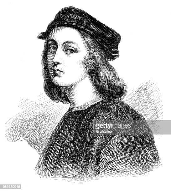 Italian painter Raphael portrait illustration 1882