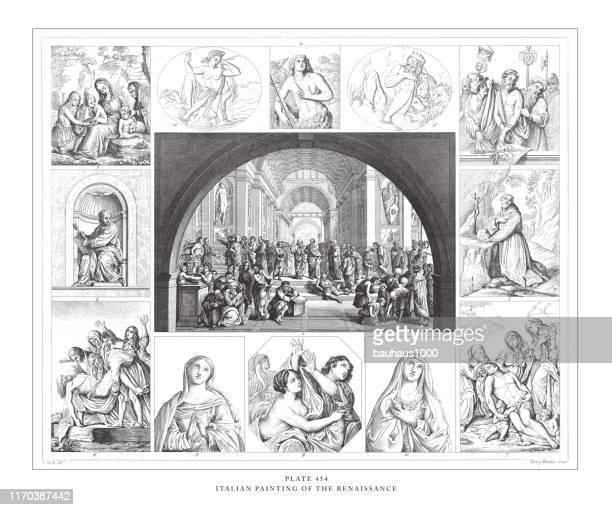 illustrazioni stock, clip art, cartoni animati e icone di tendenza di italian painting of the renaissance engraving antique illustration, published 1851 - michelangelo merisi da caravaggio