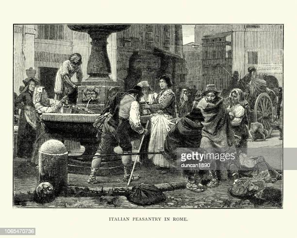 Italian Peasantry, Rome, collecting water from a fountain, 19th Century