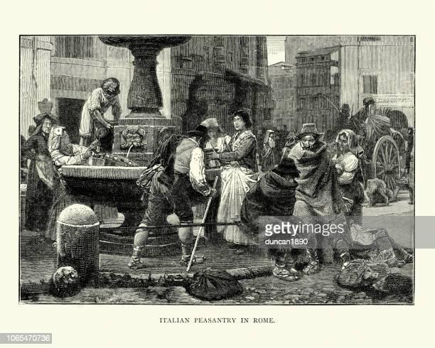 stockillustraties, clipart, cartoons en iconen met italiaanse boeren, rome, verzamelen van water uit een fontein, 19e eeuw - antiek toestand