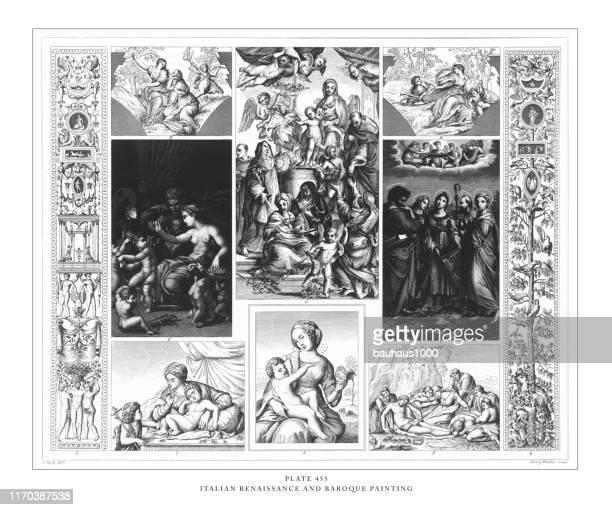 illustrazioni stock, clip art, cartoni animati e icone di tendenza di incisione pittorico rinascimentale e barocco italiana illustrazione antica, pubblicata nel 1851 - michelangelo merisi da caravaggio