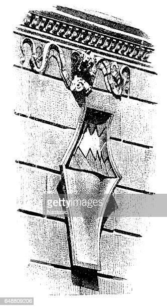 illustrations, cliparts, dessins animés et icônes de cartouche de la renaissance italienne - marteaudeporte