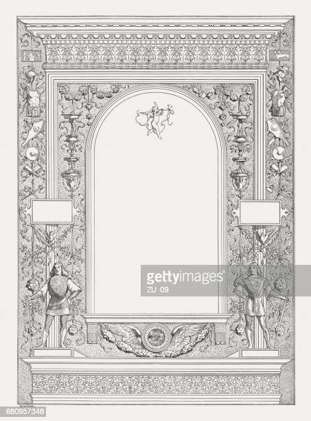 Italian renaissance frame with copy space, wood engraving, published 1884