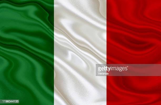 illustrazioni stock, clip art, cartoni animati e icone di tendenza di bandiera sventolante italiana - tricolore