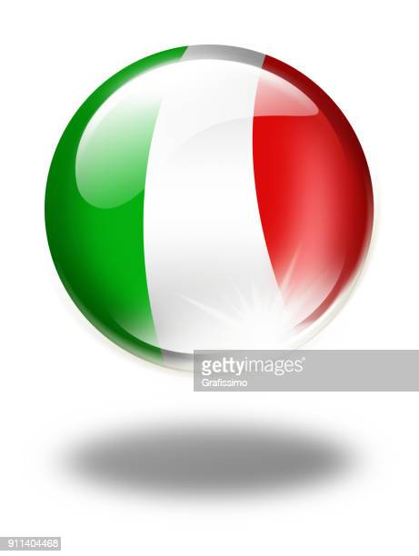 Italy button with italian flag isolated on white