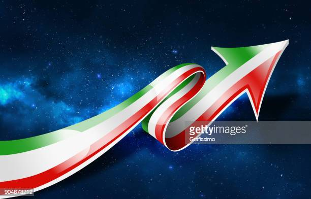 Italy or Hungary flag with arrow upwards