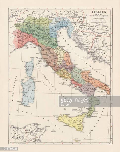 italy until the time of emperor augustus, lithograph, published 1897 - corsica stock illustrations, clip art, cartoons, & icons