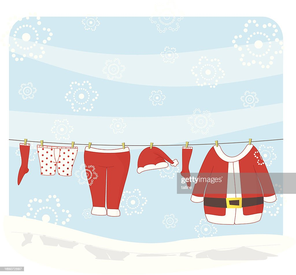 It's snowing and Santa is trying to dry his clothes!