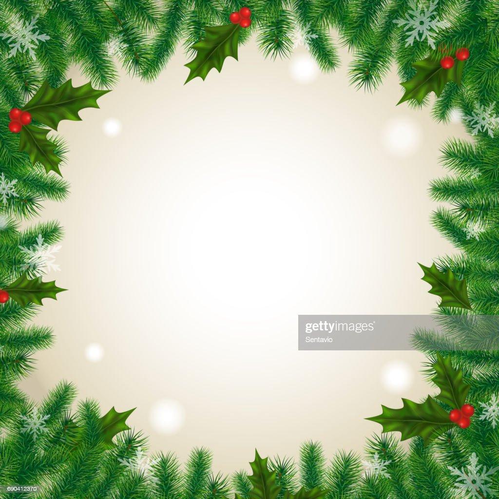 Efeu Beeren Und Nadeln Hintergrundvektorillustration Winterfeiertage