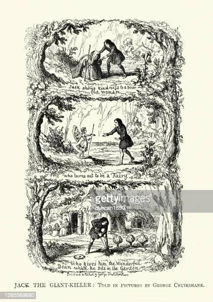 jack and the beanstalk - bohnenranke stock-grafiken, -clipart, -cartoons und -symbole