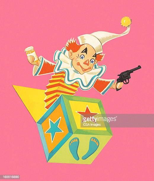 illustrations, cliparts, dessins animés et icônes de jack in the box clown avec une arme à feu - diable à ressort