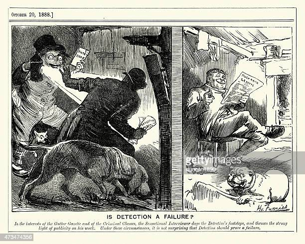 jack the ripper - is detection a failure, 1888 - jack the ripper stock illustrations