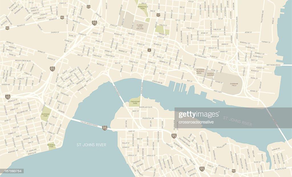 Jacksonville Florida Downtown Map