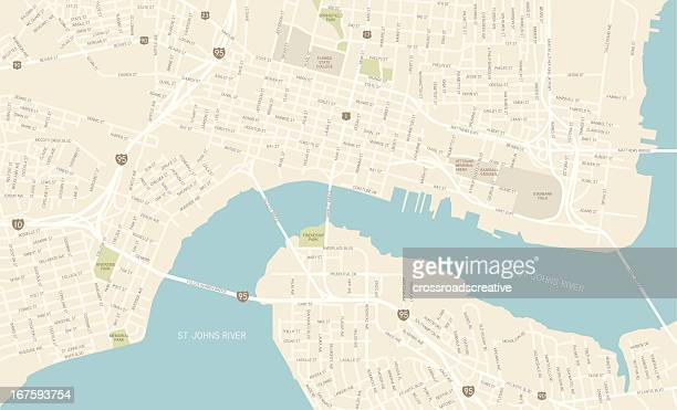 jacksonville florida downtown map - jacksonville florida stock illustrations