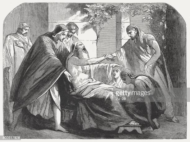 jacob blesses ephraim and manasseh (genesis 48, 14), published 1886 - religious blessing stock illustrations