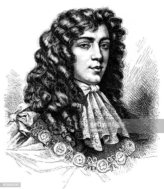 stockillustraties, clipart, cartoons en iconen met jacob, hertog van monmouth, beroemde predikant en een belangrijke figuur in de ontwikkeling van de britse geschiedenis. - duke