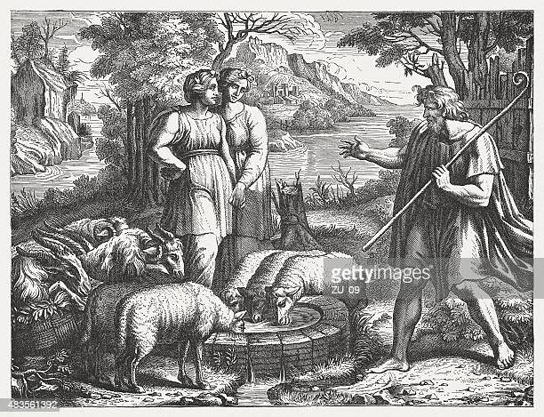 jacob meets rachel (genesis 29) by raphael, published in 1878 - high renaissance stock illustrations