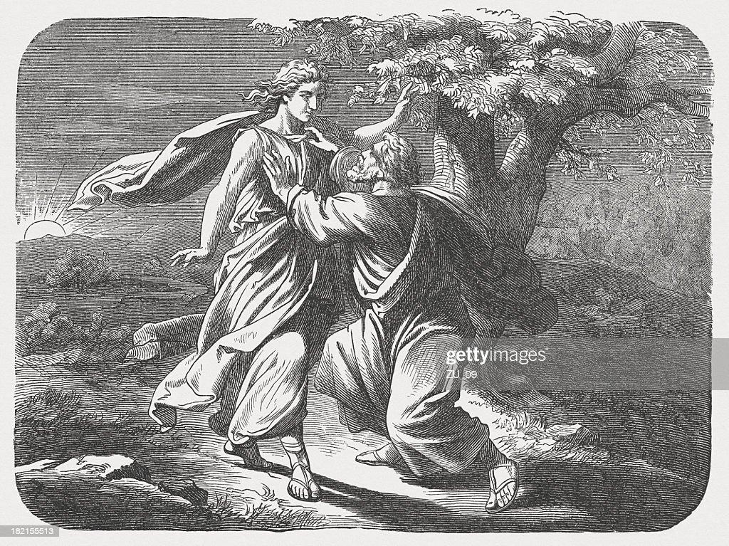 Jacob Wrestles with God (Genesis 32, 24-28), published in 1877 : stock illustration