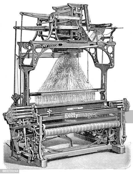 jacquard weaving machine - textile industry stock illustrations
