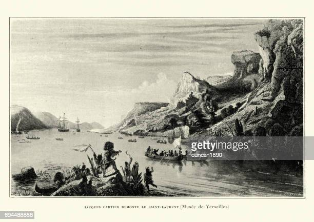 jacques cartier discovering the saint lawrence river - river st lawrence stock illustrations