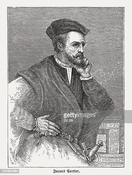 ジャック・カルティエ(1491-1557 )、フレンチ 冒険者 、木製の彫り込み日に創刊 1884 - ジャック カルティエ点のイラスト素材/クリップアート素材/マンガ素材/アイコン素材