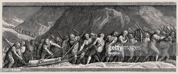 illustrations, cliparts, dessins animés et icônes de jacques-louis david, napoléon traversant les alpes ou le bonaparte au st bernard pass - guerres napoléoniennes