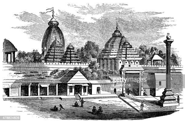 jagannath temple in puri, india - hindu god stock illustrations