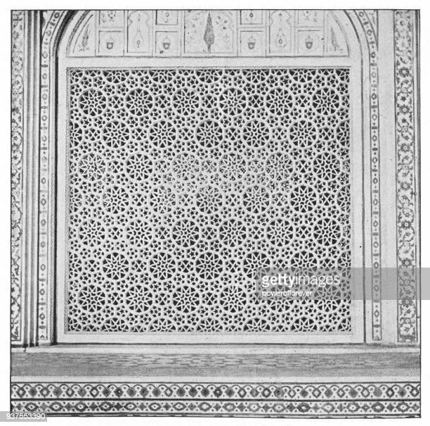 ilustrações, clipart, desenhos animados e ícones de jali detalhe arquitectónico do taj mahal em agra, india - era britânica - taj mahal