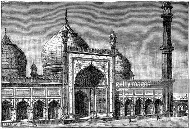 jama masjid in dehli - friday mosque stock illustrations