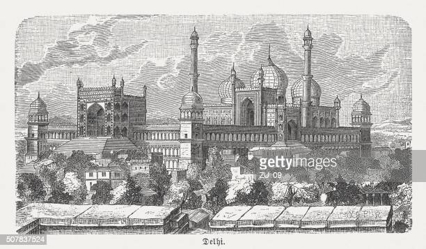 Jama Masjid in Delhi, India, wood engraving, published in 1882